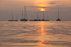 Sunset sailboats Stock Photography