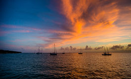 Sunset and Sailboats. Sunset view of sailboats in Miami. Florida royalty free stock image