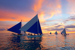 Sunset Sailing At Boracay, Philippines Royalty Free Stock Photography