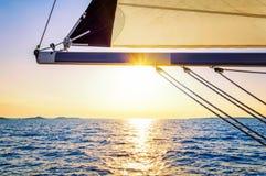 Sunset on sailing Stock Photo