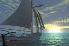 Sunset sailing boat Stock Photo