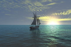 Sunset sailing boat. Romantic view of a sailboat at sunset Royalty Free Stock Photo