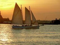 Sunset sailing on the Hudson River stock images