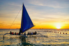 Sunset sailing. Photo taken in Boracay, Philippines Stock Photos