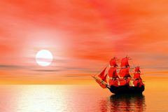 Sunset. Sailing ship Royalty Free Stock Photography