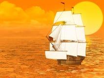 Sunset and sailing ship Royalty Free Stock Photo