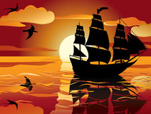 Sunset. sailing vessel Royalty Free Stock Photos