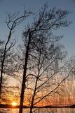 Sunset on the Saimaa lake in Finland Stock Photos