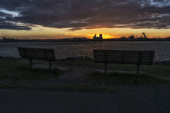 Sunset on the Saint Lawrence Seaway. The Saint Lawrence Seaway French: la Voie Maritime du Saint-Laurent is a system of locks, canals and channels in Canada and Royalty Free Stock Photography