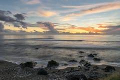 Sunset at Saint-Leu, La Réunion. This spectacular sunset was seen near the Kélonia turtle observatory in Saint-Leu on the island of La Réunion Royalty Free Stock Image