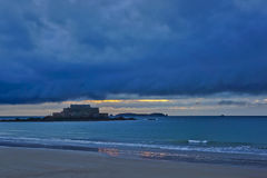 Sunset in Saint-Malo. Stock Image