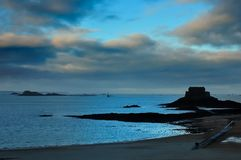 SUNSET IN SAINT MALO, FRANCE Stock Photos