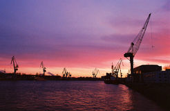 Sunset. In Saint-Petersburg dockyard in autumn Royalty Free Stock Photo