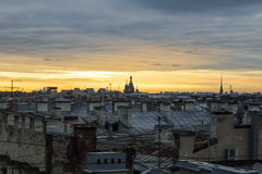 Sunset. Saint-Petersburg's roofs  are the famous touristic sights. It's Saviour on Spilled Blood Royalty Free Stock Photography