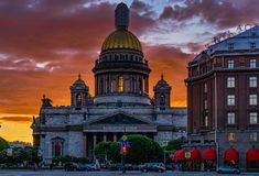 Sunset of Saint-Petersburg. Sunset of Saint Peterburg with Saint Isaac Cathedral and the Monument to Emperor Nicholas I, Russia Stock Images