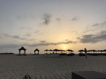 Beach hut sunset. Sunset in Sal Cape Verde Stock Photography