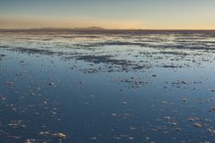 Sunset in the Salar de Uyuni near Colchani. It is the largest salt flat in the World UNESCO World Heritage Site - Bolivia royalty free stock photos