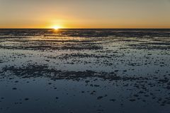 Sunset in the Salar de Uyuni near Colchani. It is the largest salt flat in the World UNESCO World Heritage Site - Bolivia royalty free stock images