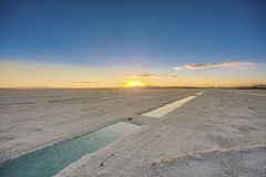 Sunset in Salinas Grandes in Jujuy, Argentina. Royalty Free Stock Image