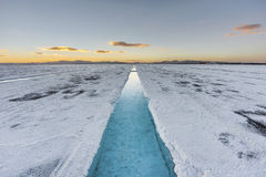 Sunset in Salinas Grandes in Jujuy, Argentina. Stock Photos