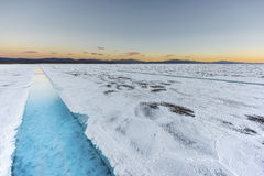 Sunset in Salinas Grandes in Jujuy, Argentina. Stock Images