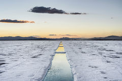 Sunset in Salinas Grandes in Jujuy, Argentina. Royalty Free Stock Photography