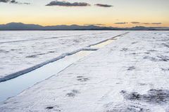 Sunset in Salinas Grandes in Jujuy, Argentina. Royalty Free Stock Photo