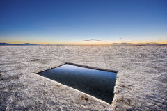 Sunset in Salinas Grandes in Jujuy, Argentina. Stock Photography
