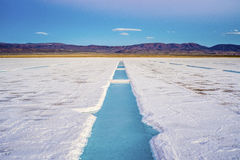 Sunset in Salinas Grandes in Jujuy, Argentina. Royalty Free Stock Images