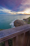 Sunset in  Salou - Spain. Sea Landscape from the top. At the Blue hour in   Far Salou, Province of Tarragona , Spain Royalty Free Stock Photos