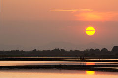 Sunset at salt farm Royalty Free Stock Photography