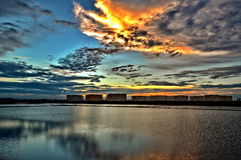 Sunset at salt farm in Thailand Royalty Free Stock Images