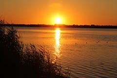 Sunset at Salt lake in Eupatoria, Crimea Stock Image