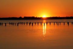Sunset at Salt lake in Eupatoria, Crimea Royalty Free Stock Photos