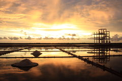 Sunset on Salt Pan Royalty Free Stock Image