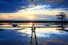 Sunset on Salt Pan Stock Photo