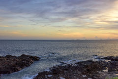 Sunset at Salvador. Sunset in Salvador overlooking the Bay of All Saints seen from Farol da Barra Royalty Free Stock Photo