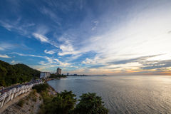 Sunset at Sam muk Bangsan beach Royalty Free Stock Photo