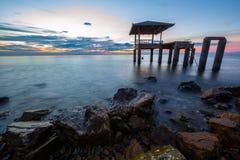 Sunset at Sam muk Bangsan beach Stock Photography