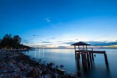 Sunset at Sam muk Bangsan beach Stock Photo