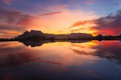 Sunset at Sam Roi Yot Freshwater Marsh National Park Khao Sam Roi Yot Royalty Free Stock Photo