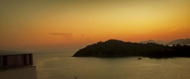 Sunset in samos. A picture of a sunset in the greek island samos in a day late afternoon of august Royalty Free Stock Photo