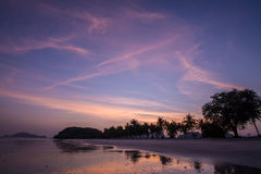 Sunset at Sampraya beach in Samroiyod nation park, Pranburi,Thailand Stock Photos