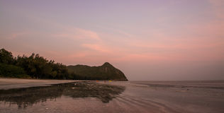 Sunset at Sampraya beach in Samroiyod nation park, Pranburi,Thailand Stock Image