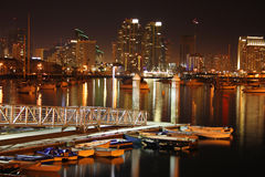 After sunset, San Diego, Ca. Night time in San Diego, Ca. Skyline, boats royalty free stock image