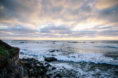 Sunset in San Diego. Cliff side view overlooking the pacific ocean during sunset in San Diego stock image