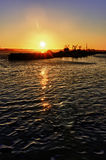 Sunset on the San Diego Harbor Stock Photography