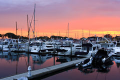 Sunset on the San Diego Harbour Royalty Free Stock Photos