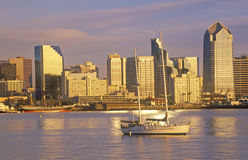 Sunset on the San Diego skyline and harbor, San Diego, California royalty free stock images