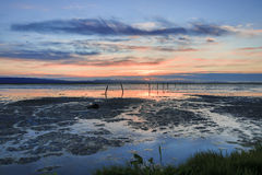Sunset in San Francisco Bay from Coyote Hills Regional Park, Fremont, California Stock Photography